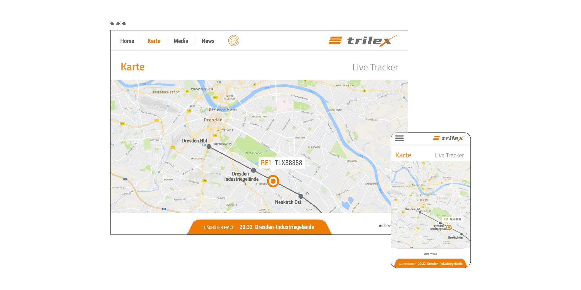 trilex Fahrgastportal / Live-Karte